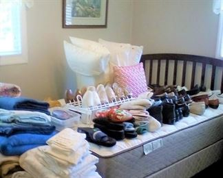 Bed Frame, Shoes, pillows, Sheets