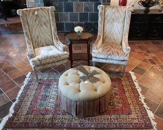 Pair of custom Caracole chairs, never used, gorgeous oriental rug and ottoman