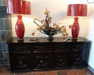 Spanish style custom buffet/credenza, pair of custom red lamps