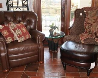 Brown recliner - SOLD, leopard print arm chair and new Hamilton Stetson leather ottoman