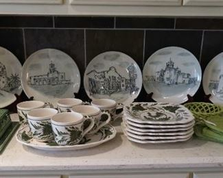 Los Compadres San Antonio Missions National Historical Park ceramic chargers and Cooley Collection toile dishes