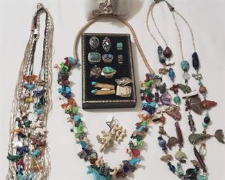 Native American and sterling jewelry.  Some gold.