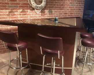 Amazing Mahogany custom-made bar with stools and overhead section