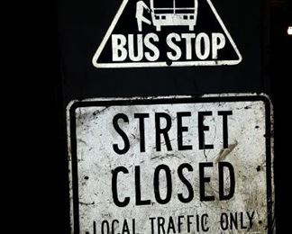 Bus Stop Street Closed Local Traffic Only & CTA Bus Stop Signs