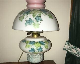 Antique kerosene/oil lamp  electrified.