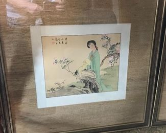 Wonderful collection of Asian-themed decor--framed prints, table-top decor and figurines and furniture.