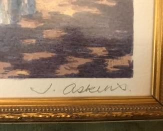 "Framed print, ""Fence Garden I"" by J. Askins, signed and numbered."