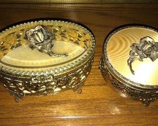 Gold-tone filigree  jewelry/trinket boxes.