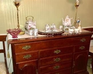Fabulous vintage solid cherry dining group--drop leaf table with 6 chairs, corner china cabinet and server. All pieces are in excellent condition.