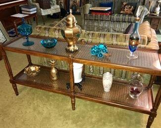 Vintage sofa table, assorted vintage decor.