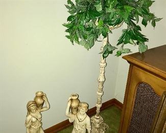 Vintage plaster figurines, faux plant on pedestal.