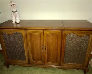 Montvale Custom cabinet stereo--AM/FM radio and turntable with storage area for records. NEEDS WORK.