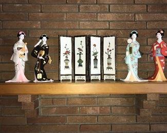 """Hamilton Mint """"Four Seasons"""" porcelain figurines."""