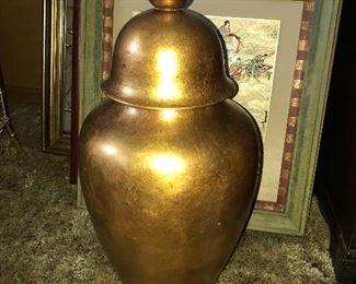 Vintage Freeman McFarlin Anthony  gold ginger jar.