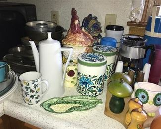 Kitchen full of great items--dinnerware, flatware, bowls, serving pieces, utensils, glassware, and small appliances.