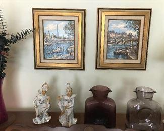 Pair original paintings, Lefton China figurines, two Blenko water jugs.