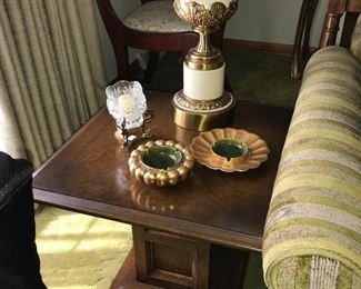 Two vintage end tables, table top decor and Stiffel lamps.