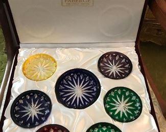 Stunning new-in-box wine coaster set, Faberge.