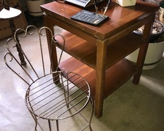 Vintage wire vanity chair, cherry table.