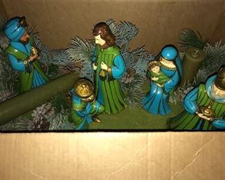 Vintage  (Japan)  blue and green Nativity set.