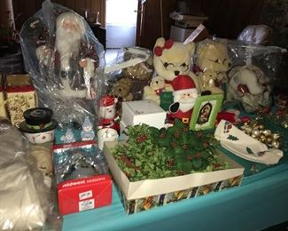 Lots of Christmas decorations, some vintage.