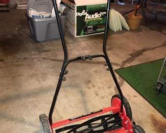 Manual lawnmower.