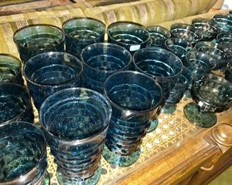 40 pieces Riviera Blue glasses by Whitehall.