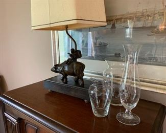 Lamp, picture and glass vases.