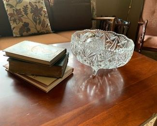 Books and crystal dish.