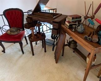 Chair, antique sewing machine, and home decore items.