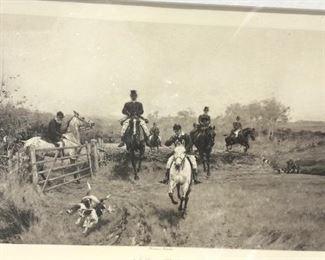 Vintage framed hunt print