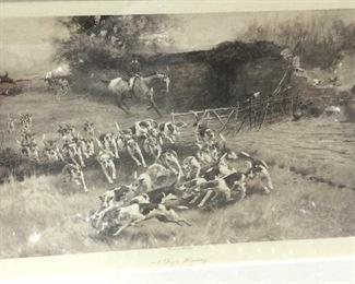 Black framed vintage hunt print