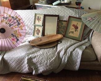 Vintage parasols, art, mirror