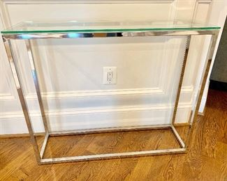 CB2 Modern Crate & Barrel glass/chrome console table