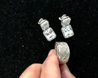 Judith Ripken earrings, Michael Dawkins ring