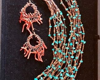 Turquoise multi strand necklace , coral earrings