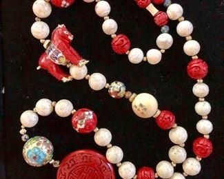 Cinnabar necklace