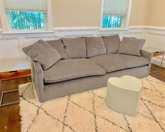 West Elm sofa and heart shaped ottoman
