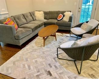 "Arhaus ""Flanders"" sectional sofa and West Elm coffee table and herringbone rug"