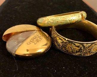 Bangles and vintage perfume holder