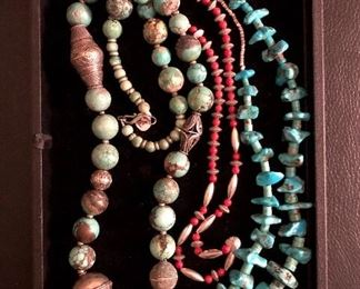Turquoise and coral necklaces