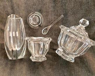 Baccarat bud vase, honey pot, and sugar/candy bowl