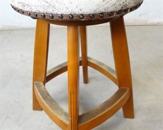 Cushioned Studded Wooden Stool