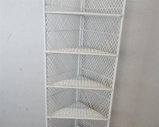 Vintage White Wicker Corner Shelf