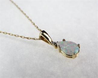 14K Yellow Gold, Opal Diamond Pendant Necklace