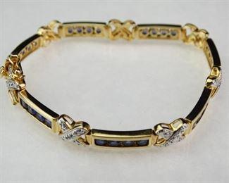 925 Gold Vermeil Sapphire Diamond Accent