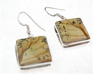 925 Silver Landscape Agate Dangle Earrings
