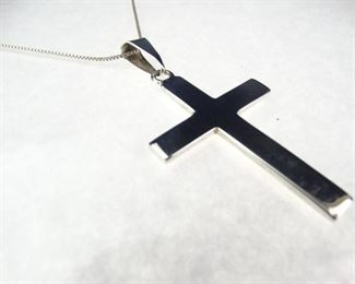 925 Solid Sterling Silver Cross Pendant Necklace