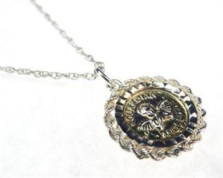 925 Sterling SilverGold Vermeil Coin Pendant