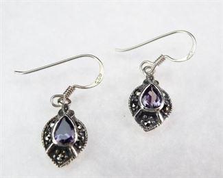 925 Sterling, Amethyst Maracasite Dangle Earrings